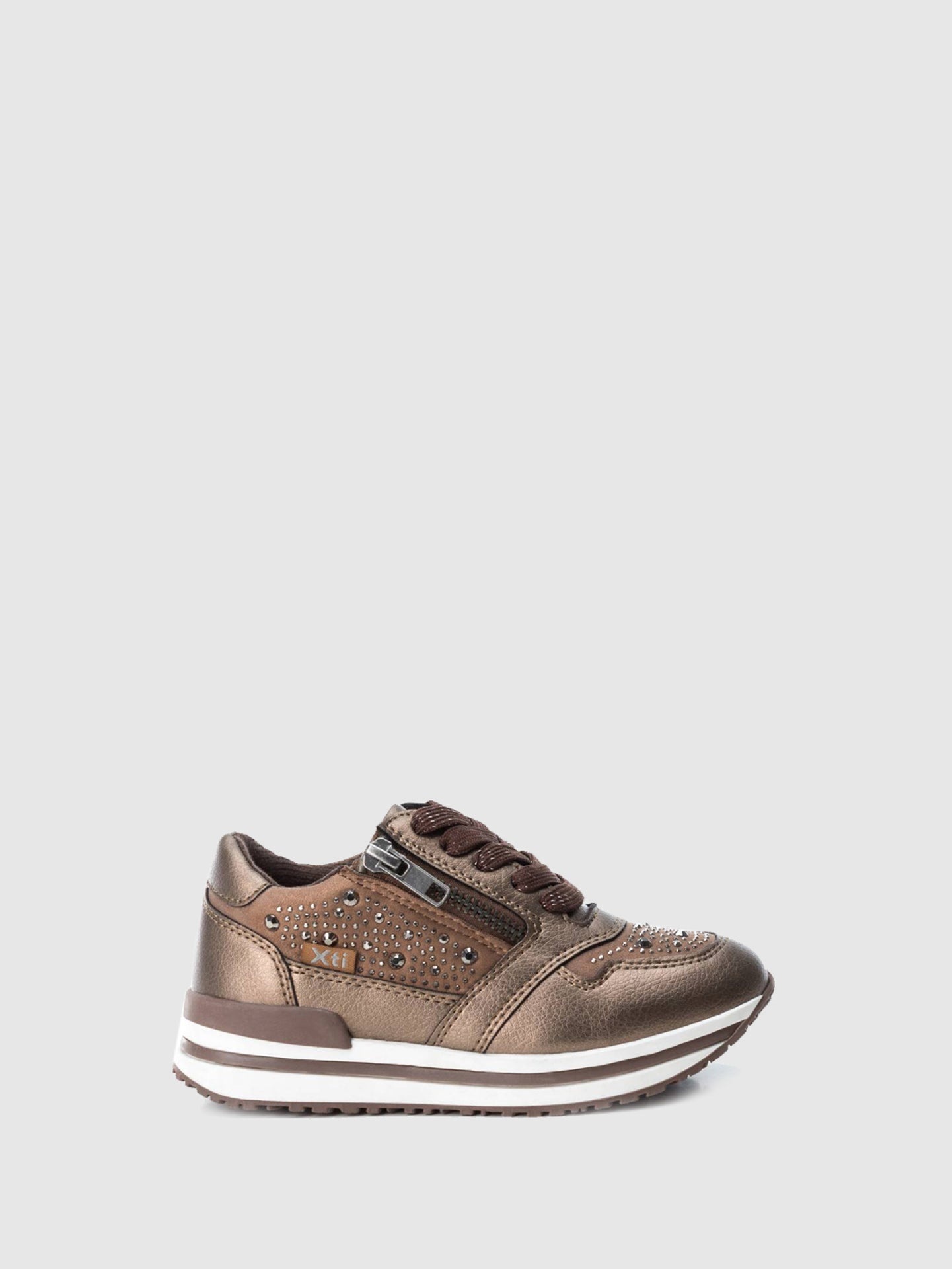 XTI Kids Brown Lace-up Trainers