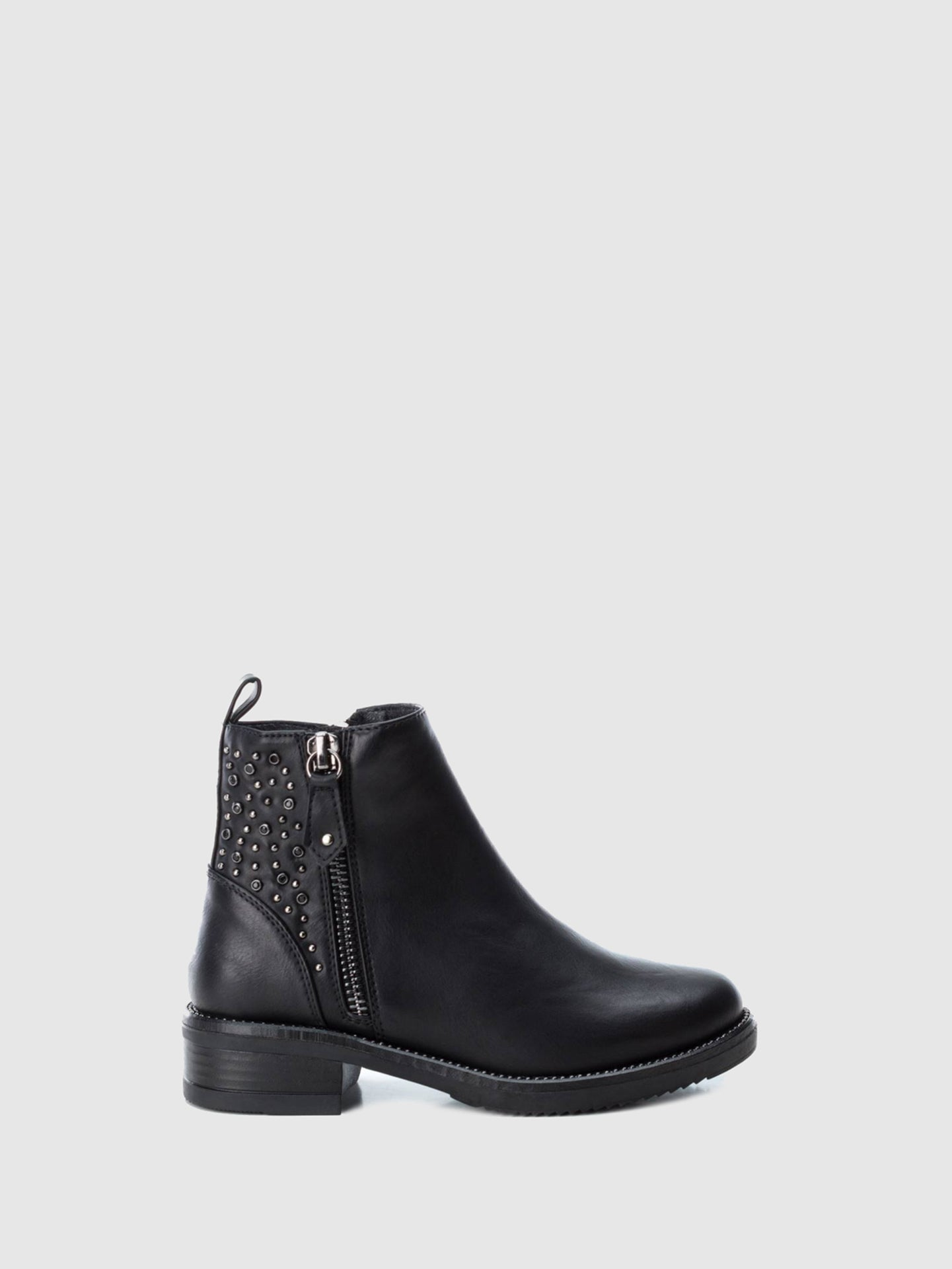XTI Kids Black Zip Up Ankle Boots