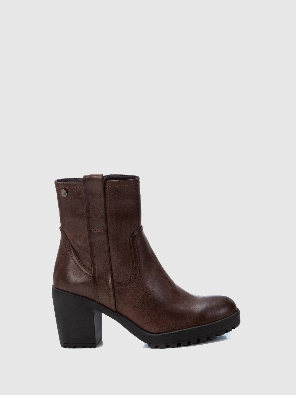 XTI Basic DarkBrown Zip Up Ankle Boots