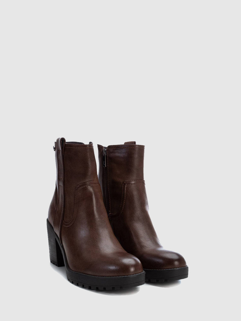 DarkBrown Zip Up Ankle Boots