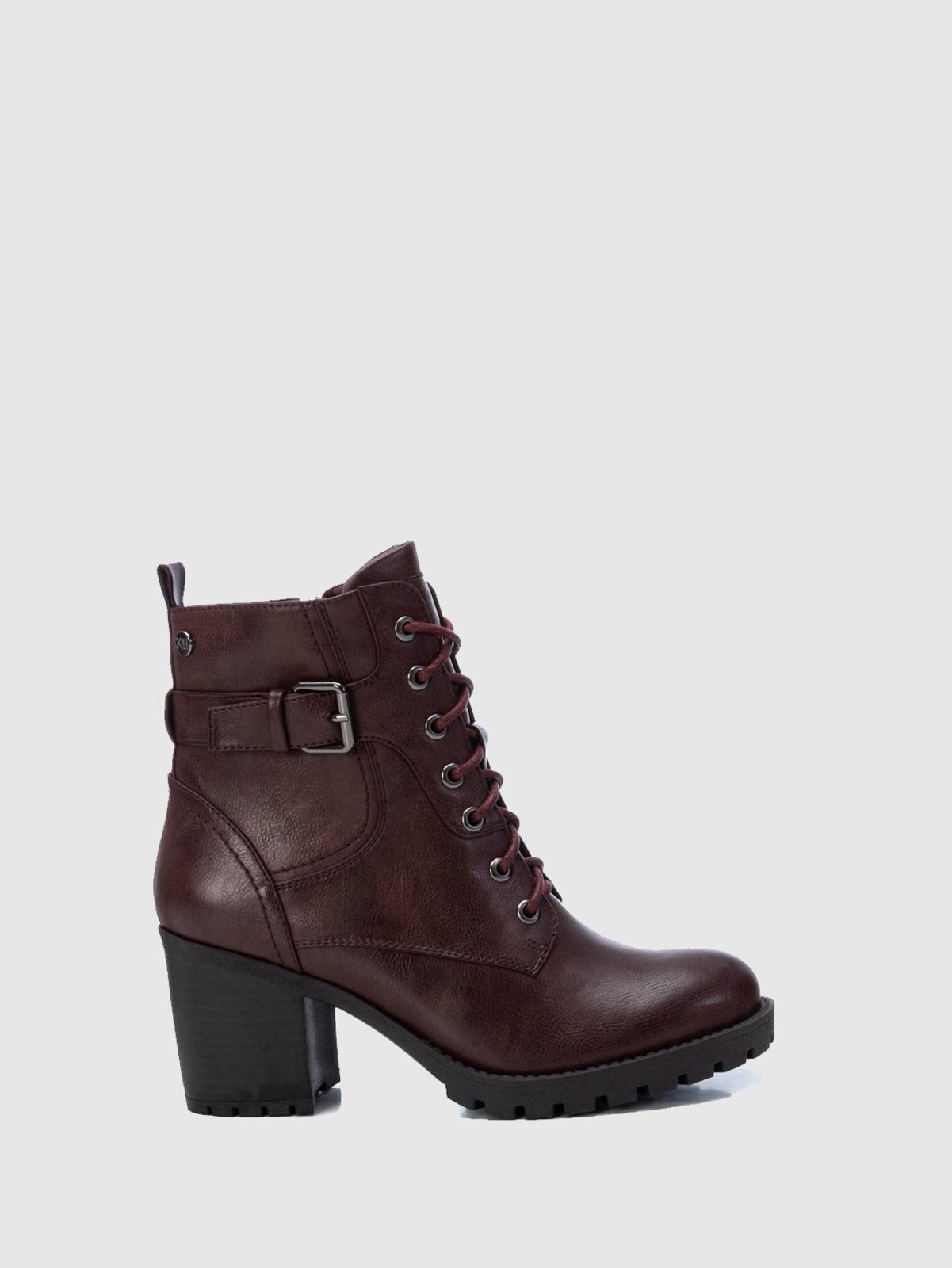 XTI Basic Red Zip Up Ankle Boots