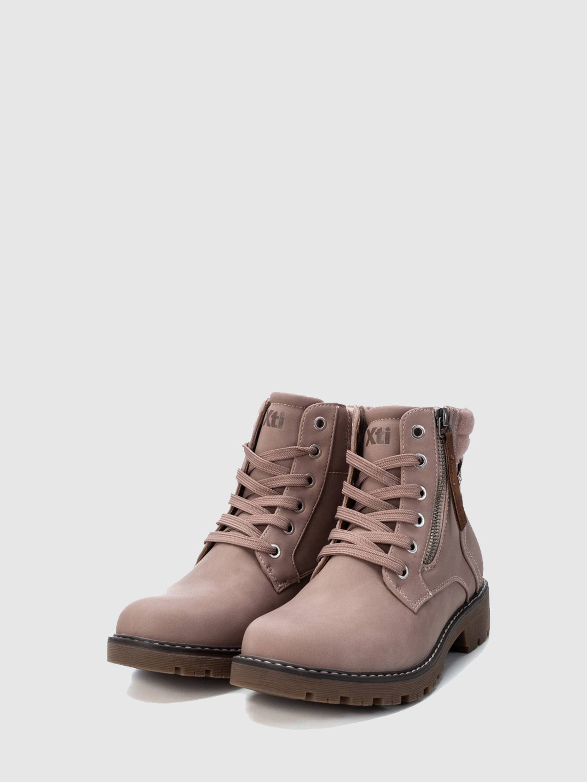 XTI Basic Brown Zip Up Ankle Boots