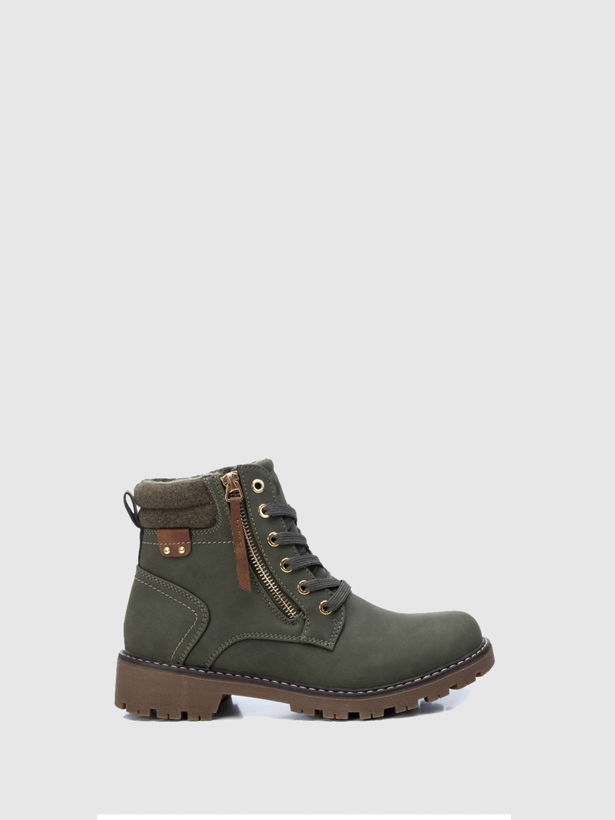 XTI Basic Green Zip Up Ankle Boots