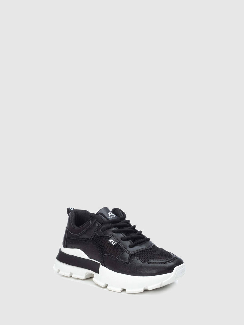 XTI Basic Black Lace-up Trainers