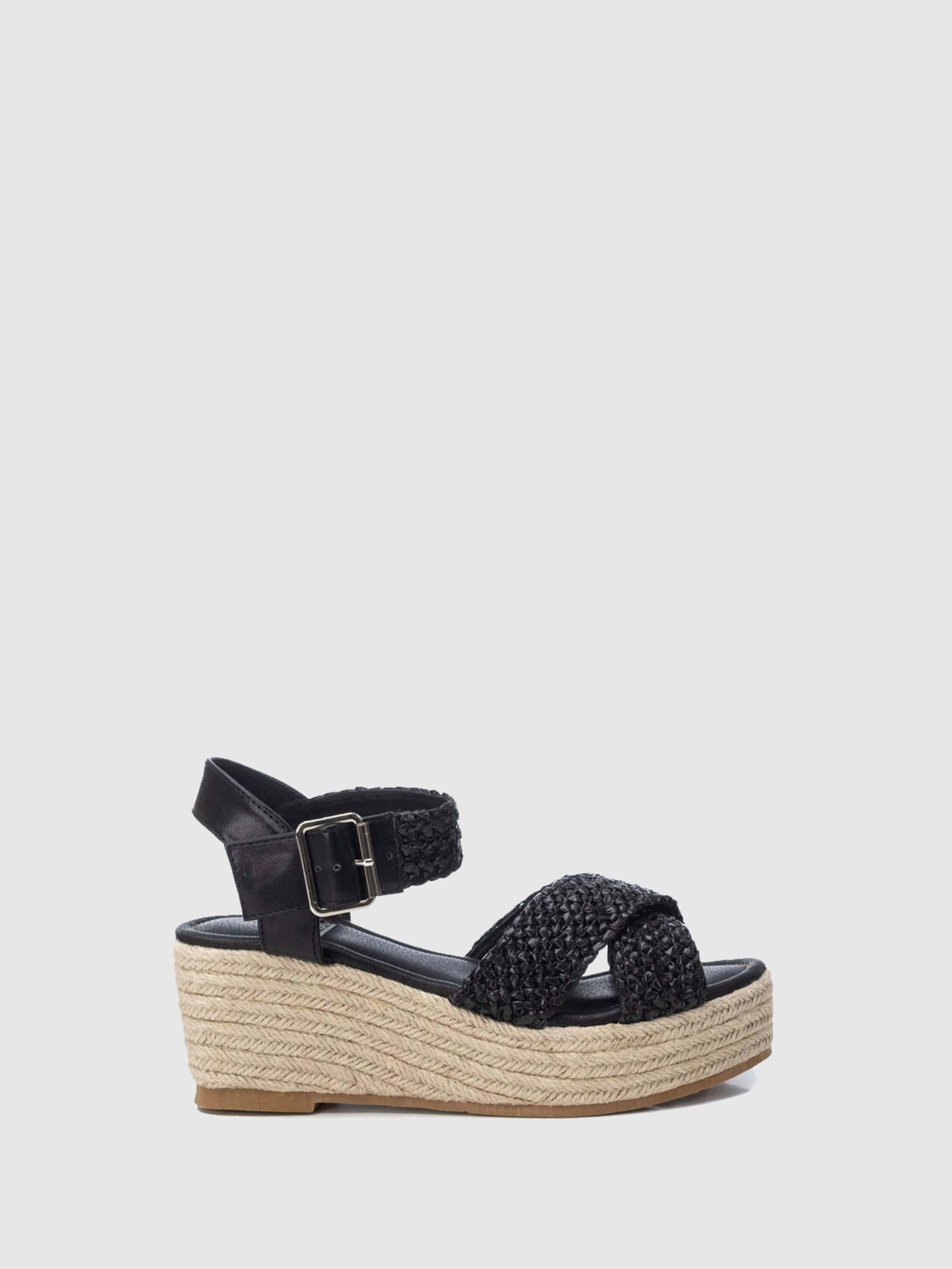 XTI Basic Black Wedge Sandals