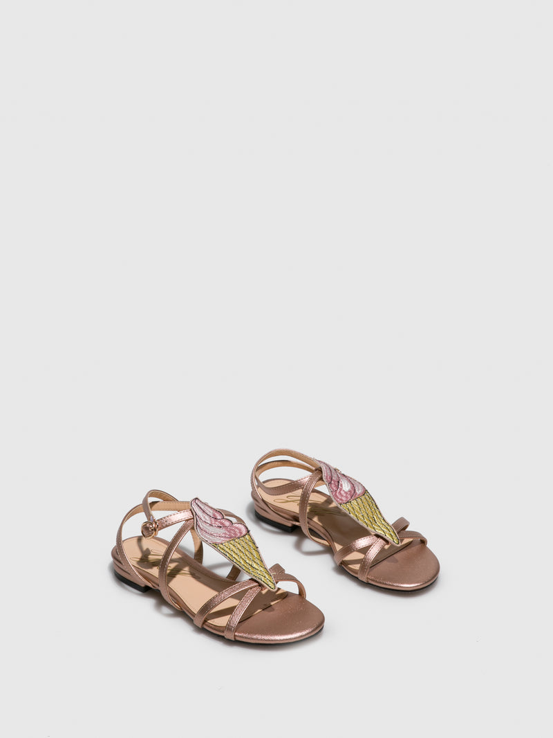 RoseGold Leather Strappy Sandals