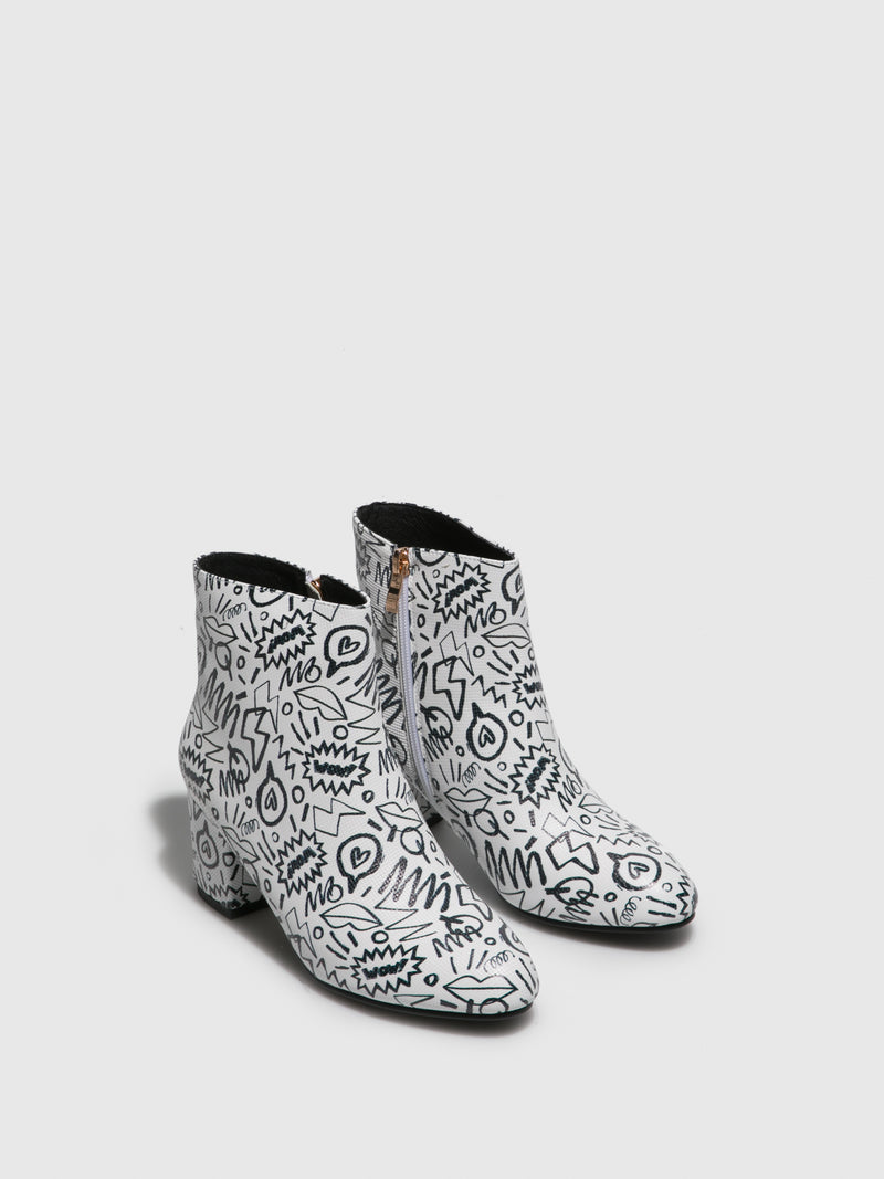 White Round Toe Ankle Boots