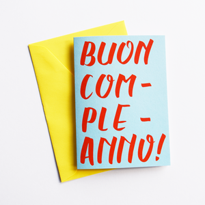 Buon Compleanno - Birthday Card in Italian (Colour: Blue)