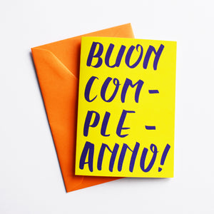 Buon Compleanno - Birthday Card in Italian (Colour: Yellow)
