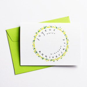 Joyeux Anniversaire - Bilingual Birthday Card in French (Colour: Green)