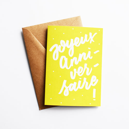 Joyeux Anniversaire - Birthday Card in French (Colour: Lime)
