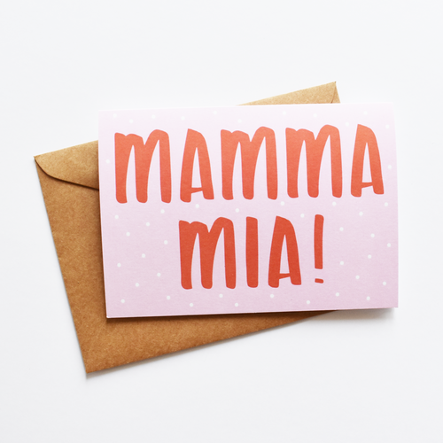 Mamma mia! (Pink) - Greeting Card in Italian