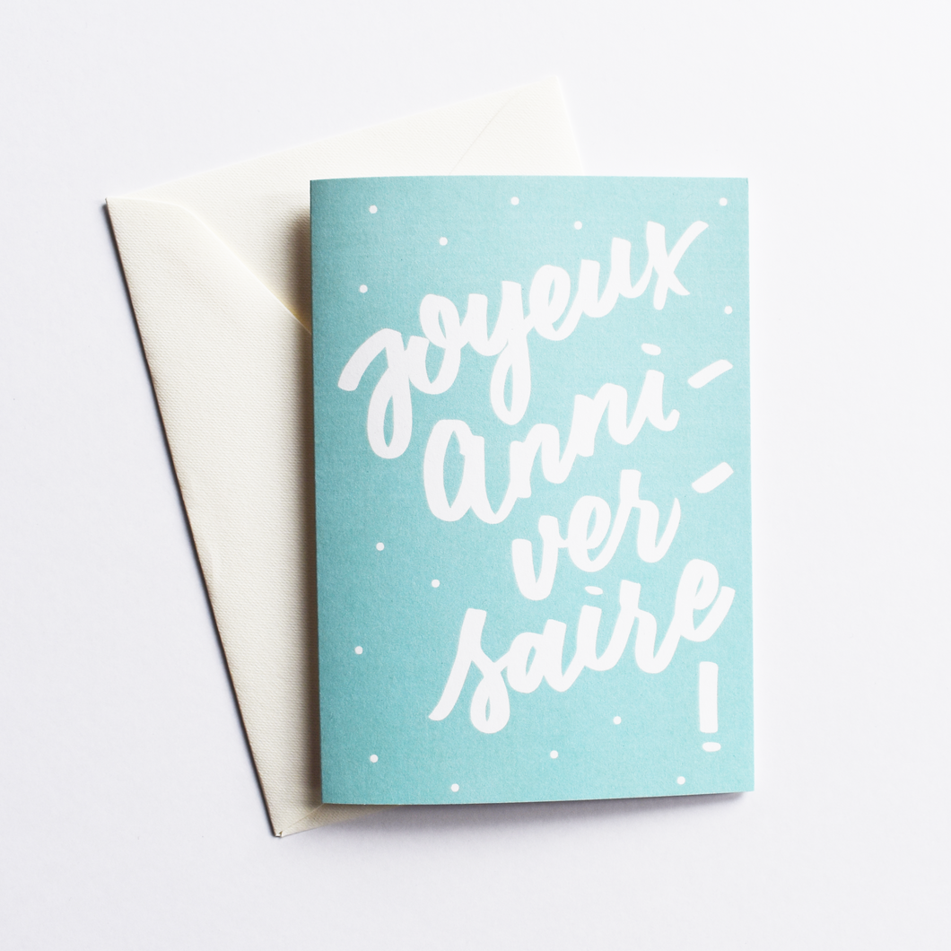 Joyeux Anniversaire - Birthday Card in French (Colour: Blue)