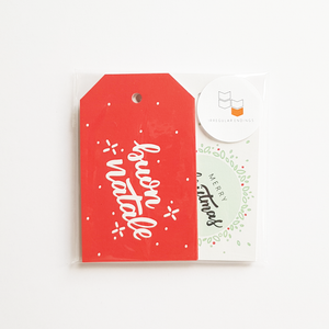 Christmas Gift Tags (Pack of 12) in English, Italian, French and Spanish
