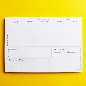 A4 Weekly Planner Notepad - English-French
