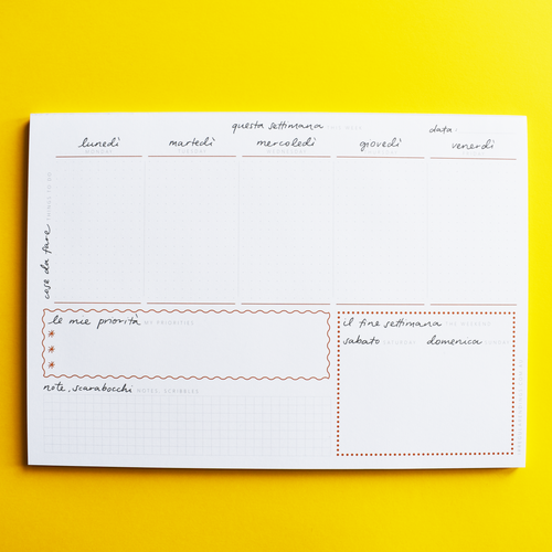 A4 Weekly Planner Notepad - English-Italian