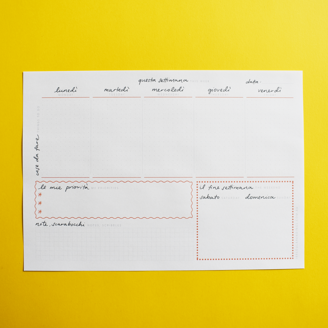 PRINTABLE - A4 Weekly Planner Notepad - English-Italian
