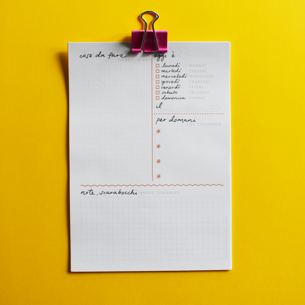 PRINTABLE - A5 To-Do List Notepad - English-Italian