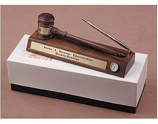 Gavel Desk Set with Pen and Clock - Item #0606