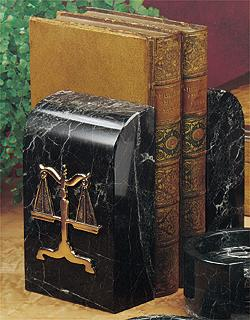 Desk Sets - Set of 3 - Bookends, Clock, and Paperweight (Attorneys) - Item #0746A