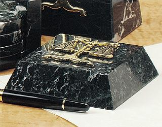 Black Marble Paperweight (Caduceus) - Item #0744D