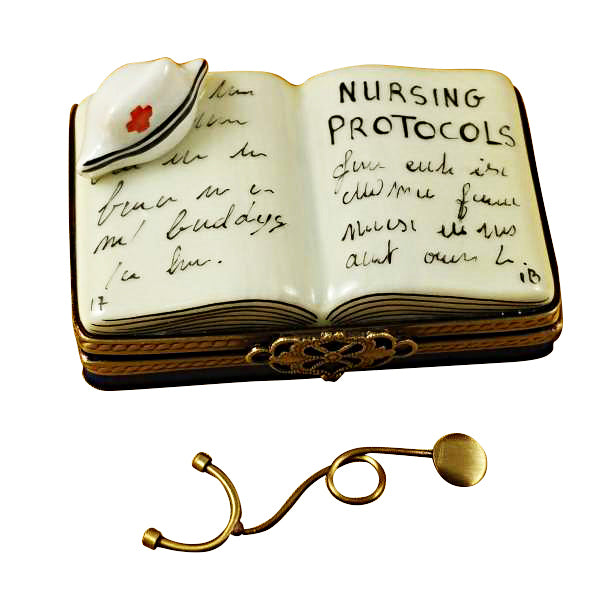 NURSING PROTOCOLS BOOK LIMOGES PORCELAIN BOX - Item #1994