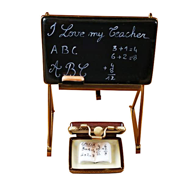 TEACHER'S BLACKBOARD LIMOGES PORCELAIN BOX - Item #1995