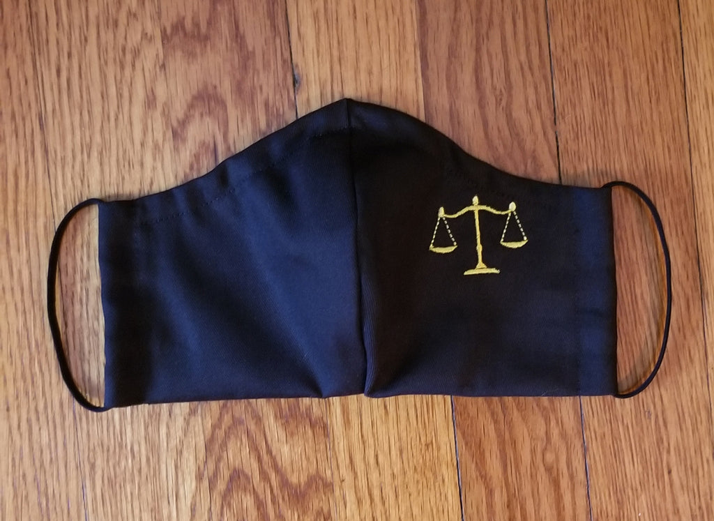 Face Covering with Small Scales of Justice for the Legal Professional! Item# 30002