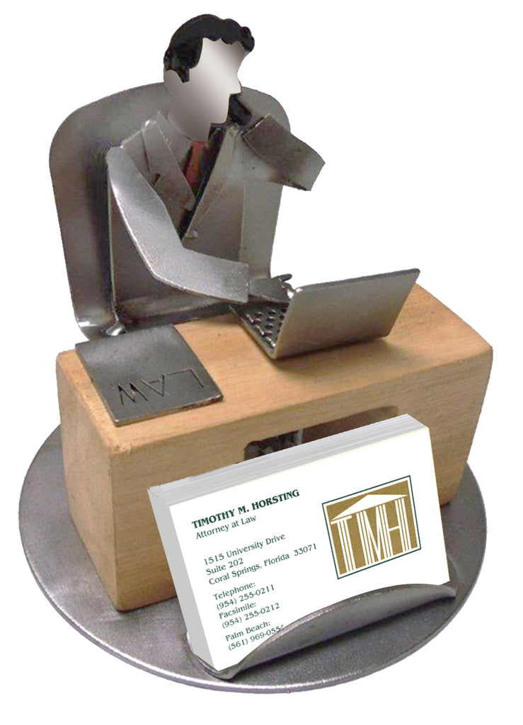 Male Lawyer Silhouette Business Card Holder -  Item #3139