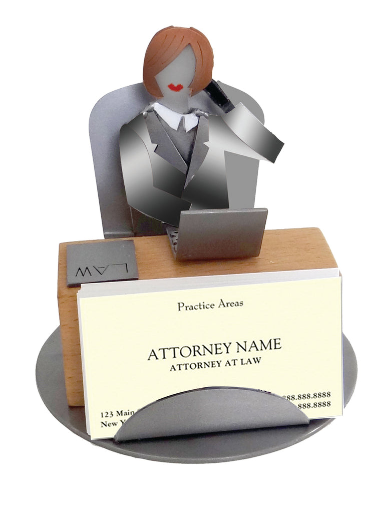 Female Lawyer Silhouette Business Card Holder -  Item #3140
