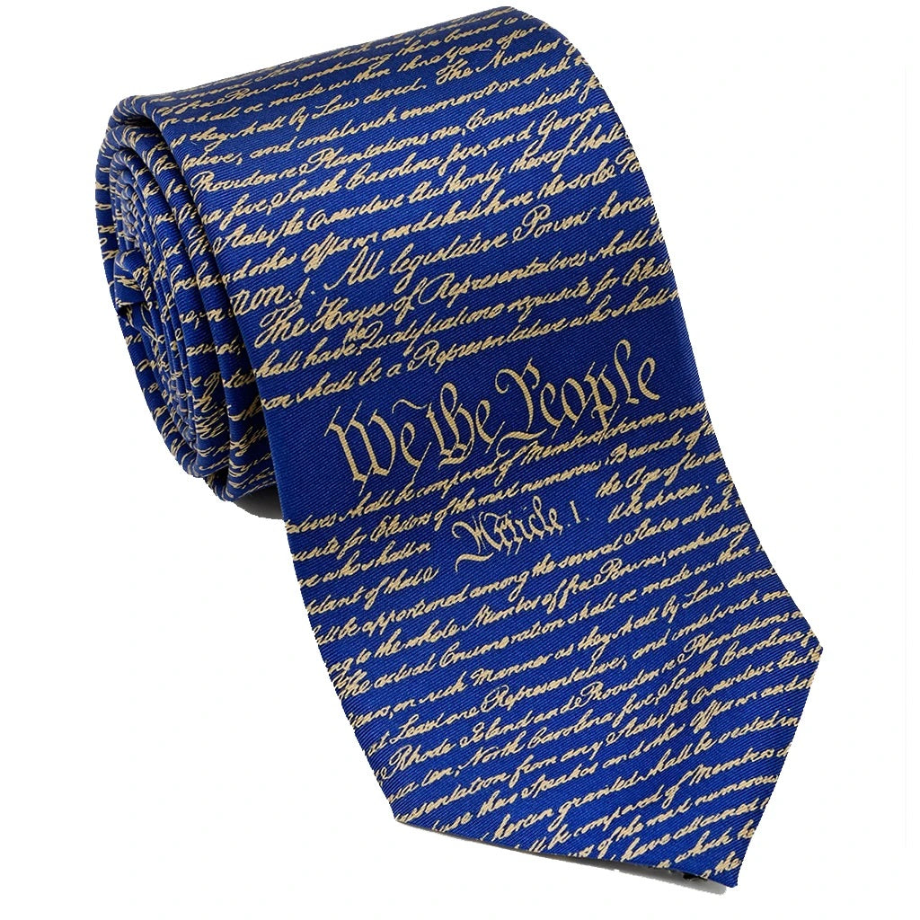 Patriotic & Historical Silk Tie - U.S. Constitution (Red or Blue) - Item #3231, 3229