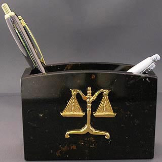 Lawyer Brown Marble Pen Cup - Item #3621