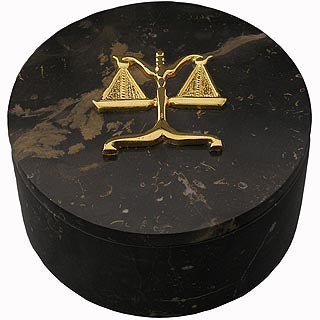 Lawyer Brown Marble Trinket/Paperclip Box - Item #3622