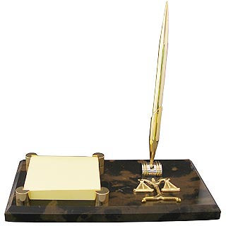 Lawyer Brown Marble Memo Pad & Pen Holder - Item #3623