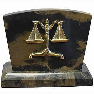 Lawyer Brown Marble  Clock / Letter Holder - Item #3624