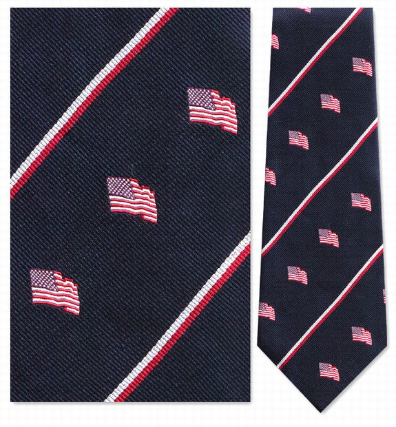 American Flag Navy with Red Flag Silk Tie - Item #3374