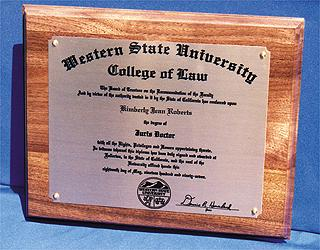 DIPLOMA PLAQUE Item #9037