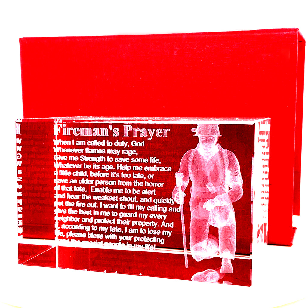 Fireman's Prayer with 3d Firefigher in a  Rectangualr 3x2 Inch Crystal- Item#H1008/9