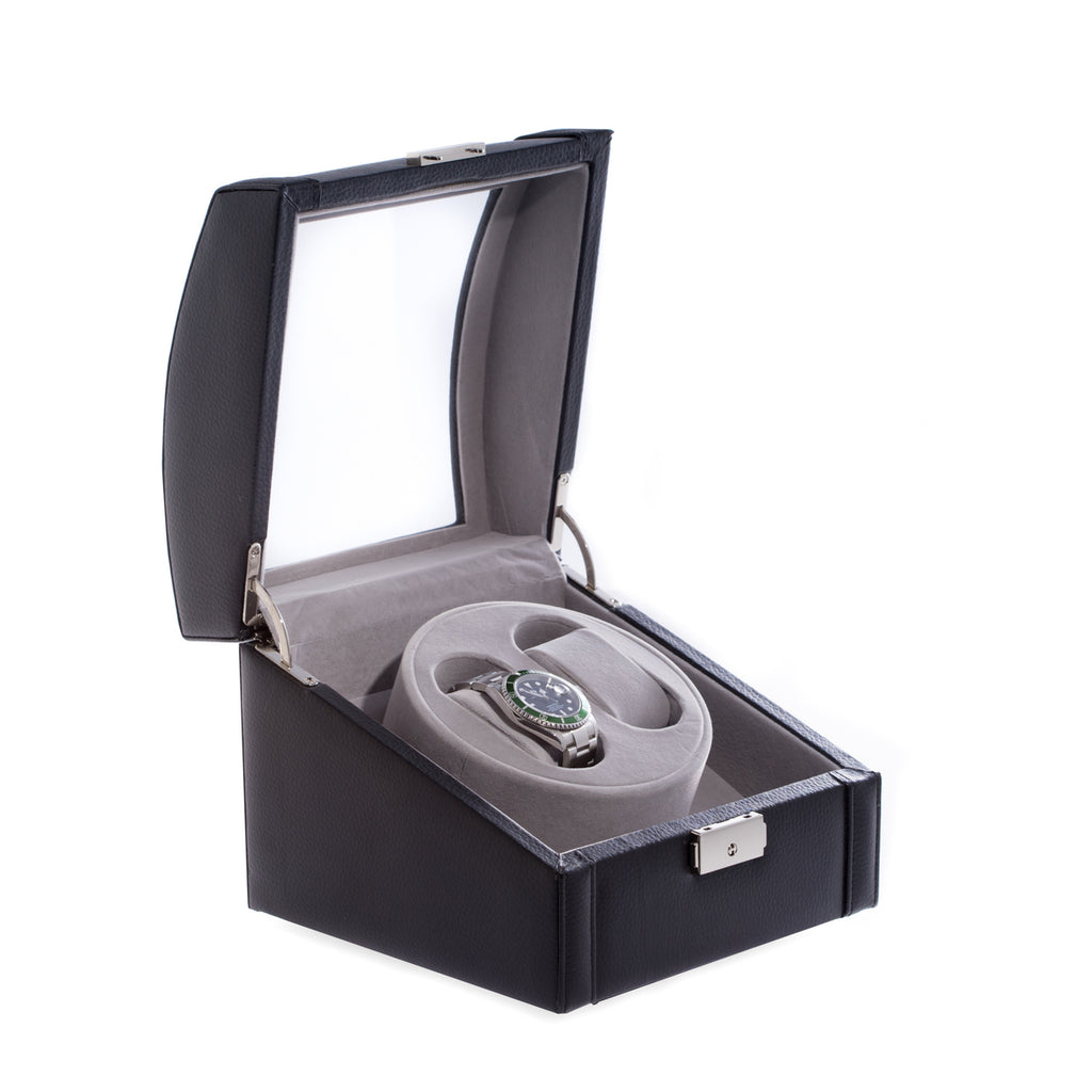Watch Winder- Black Leather with Glass top- Item#H0021