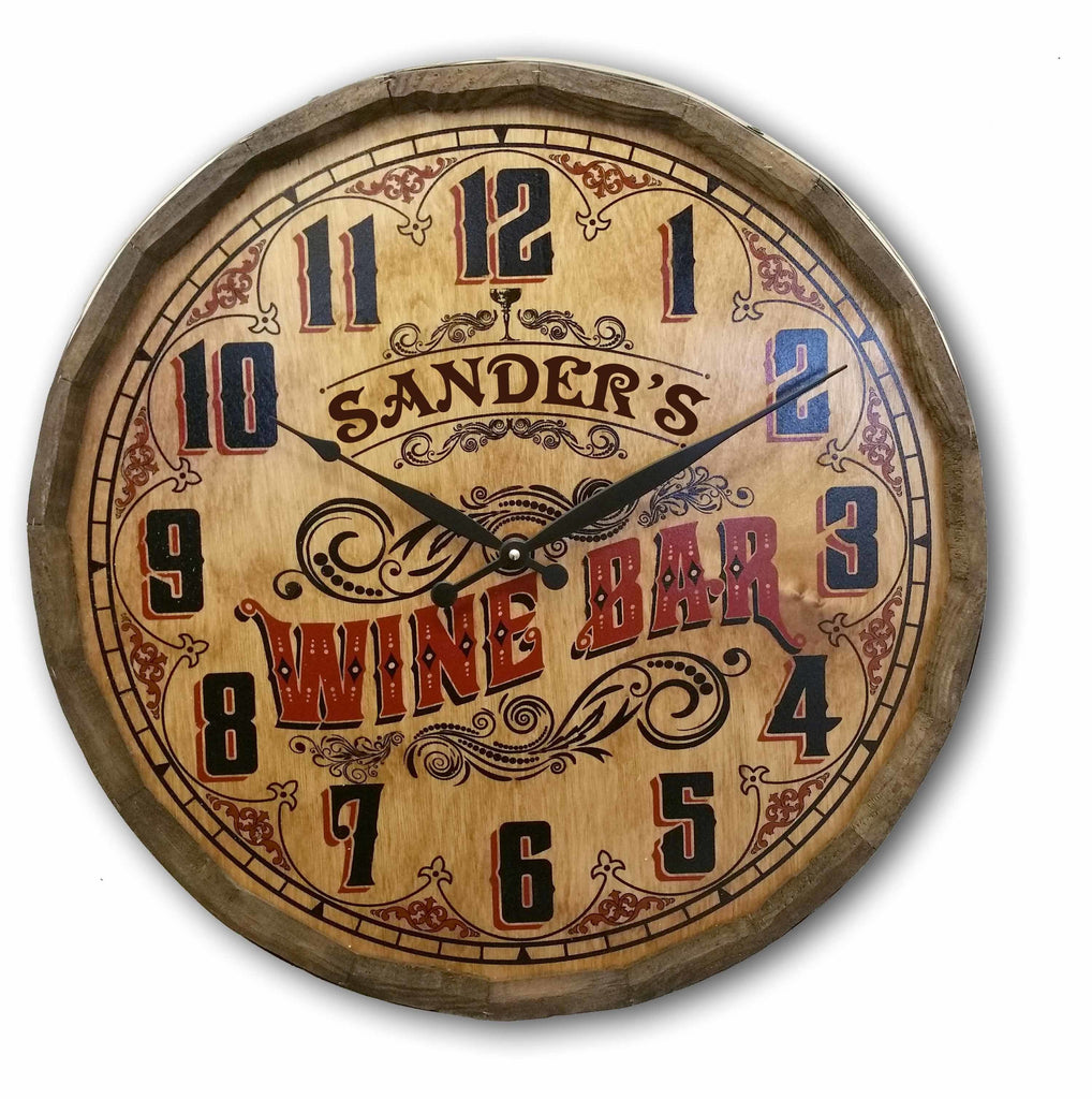 Wine Bar Barrel Head Clock- Item #H0034