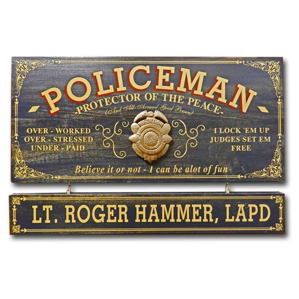 Policeman Wooden Plank Sign - Item #H0038