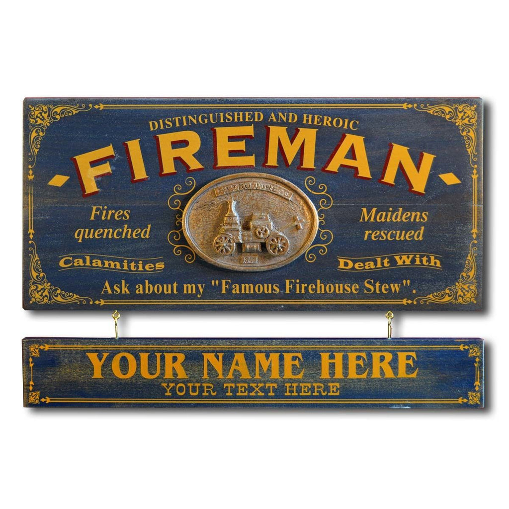 Fireman Wooden Plank Sign - Item #H0043