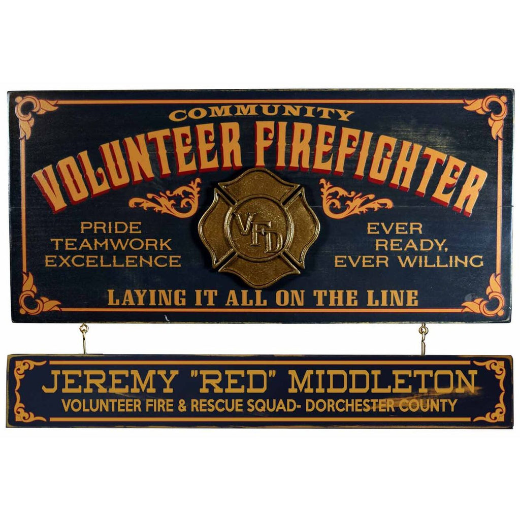 Volunteer Fireman Wooden Plank Sign - Item #H0052