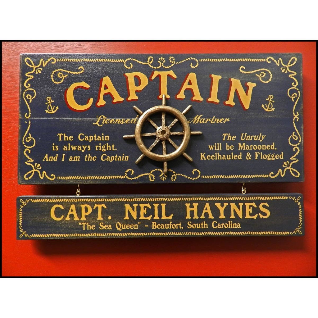 Captain of a Boat  Wooden Plank Sign - Item #H0055