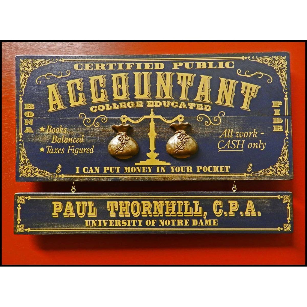Accountant Wooden Plank Sign - Item #H0056