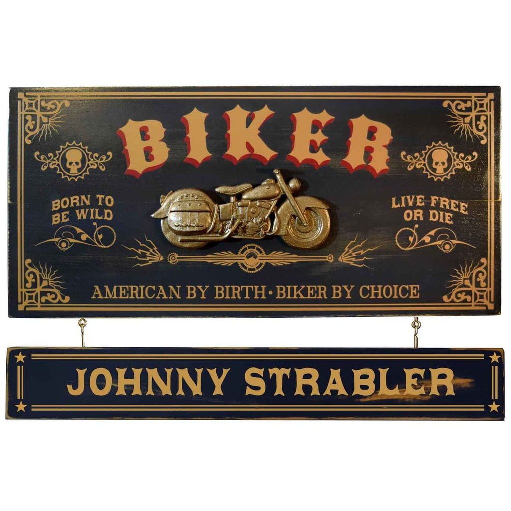Biker Wooden Plank Sign - Item #H0062