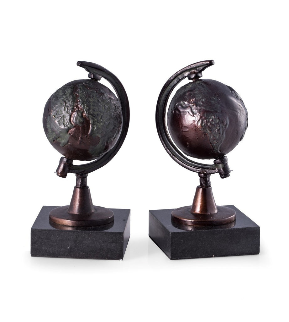 Globe Sculpture Bookends on a Marble Base- Item #H0070