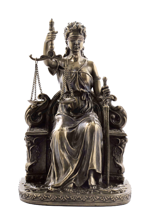 LADY JUSTICE SITTING WITH SCALES AND SWORD, ITEM #H0080