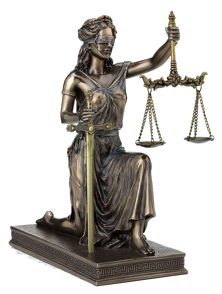 KNEELING LADY JUSTICE WITH SCALES AND SWORD, ITEM #H0081