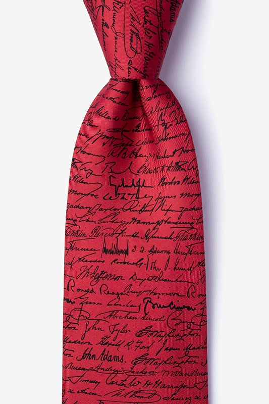 Presidential Signatures Silk Tie  (Red) - Item #H0085